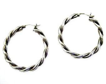 Vintage Sterling Silver Twisted Hoop Earrings