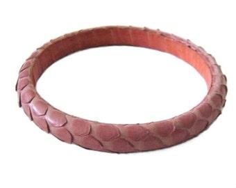 Vintage 80's Snakeskin Bangle Bracelet - Pink