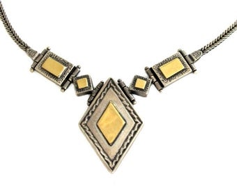 Sterling Silver & Vermeil Articulated Pendant Necklace