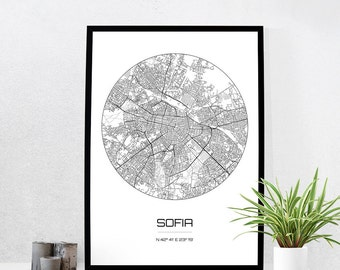Sofia Map Print - City Map Art of Sofia Bulgaria Poster - Coordinates Wall Art Gift - Travel Map - Office Home Decor
