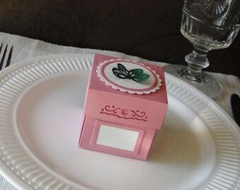 Baby Girl Shower Favor Box - Baptism Favor Box - Baby Shower Place Card Holder- Pink Baby Baptism Favor Bag - Butterfly Exploding Box