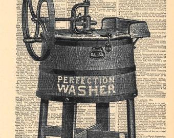 Washing Machine Vintage | Dictionary Print | Vintage Decor | Dictionary Art | Dictionary Page Art | Retro Decor | Antique Washing Machine