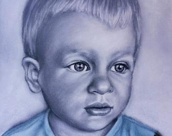 Monochrome pastels portrait