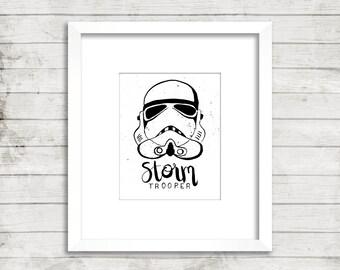 Storm Trooper digital print, star wars, printable art, star wars art