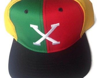 Malcolm X red yellow green 90s hip hop throwback snap back hat NOS DEAD STOCK