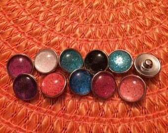 Glitter snap buttons
