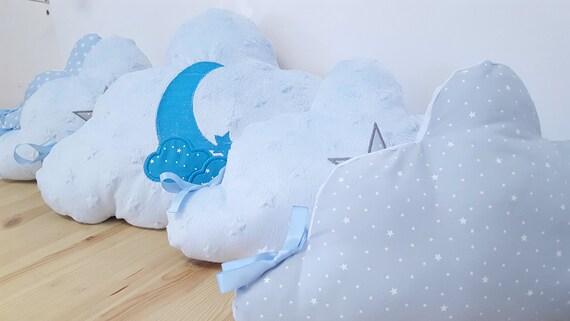 tour de lit coussin nuage bleu et gris motif lune et toile. Black Bedroom Furniture Sets. Home Design Ideas