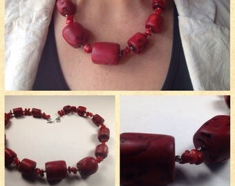 Red Coral Necklace, Chunky Red Beaded Coral, Authentic, with Silver Plated, Bar and Ring Toggle Clasp, Silver accents, Gift for her Birthday