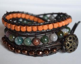 Indian Agate Wrap Bracelet
