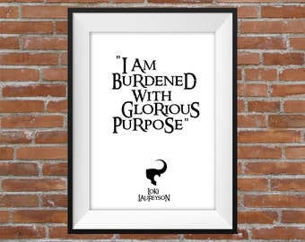 I Am Burdened With Glorious Purpose - Loki Avengers Quote - Printable Wall Art - Typographic Digital Print – The Avengers Poster - Gift Idea
