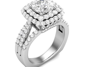 White Gold Engagement Ring Halo Ring Double Halo 14K Gold 1.40ct Round Diamonds Semi Mount for 1.5ct Round Center Three-Row Shank Ring