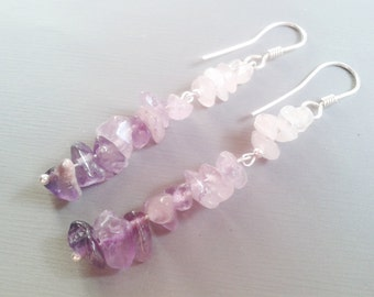 Purple Earrings, Natural Stone Jewelry, Amethyst Dangle Earrings, Lavender Earrings, long earring