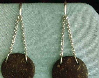 Sterling Silver dangle earrings mounted with turtle shells
