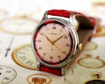 Rare Russian Watch POBEDA-1955s, Soviet watch, Vintage watch, Mechanical Movement watch, Mens Watch, USSR Watch, Wrist Watch, Pobeda Watch
