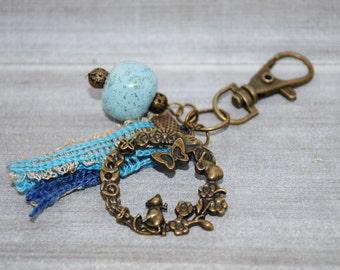 Keyring, Blue ceramic speckled beads