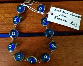 Grecian silver evil eye bracelet
