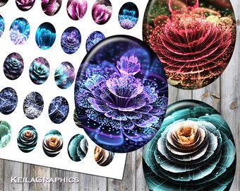 Digital Collage Sheet - Instant Download - Oval Size 40x50mm + 30x40mm + 22x30mm Printable Images - Fractal Flowers