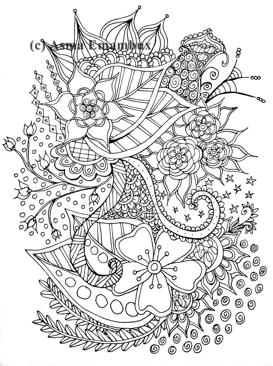 Flower Zendoodle Coloring Page