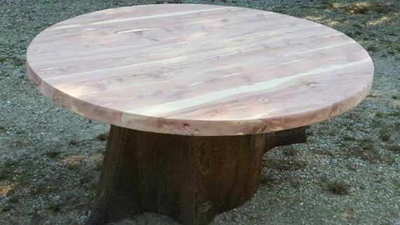 6' Round Stump Table, Cedar Stump Table, Metal Base, Stump Table, Custom Table