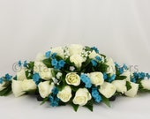 Silk Wedding Flowers, Teal & Ivory Rose Top Table Decoration