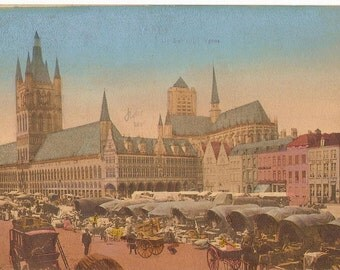 Market day in Ypres: Postcard 1902
