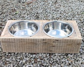 Wooden dog bowl stand made from reclaimed pallet timber - includes two stainless steel bowls. Wooden pet feeder station.