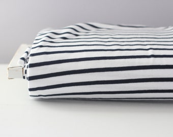 Navy and White Striped By The Yard