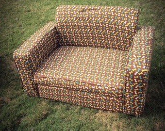 Custom Dog Couch (Brown and Blue Bones)