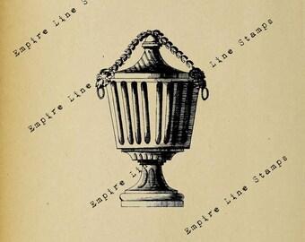 Ornate Neoclassical Vase - Digital Download Image Transfer Pillow Burlap Iron-On Teeshirt Fabric Scrapbooking Digital Stamp