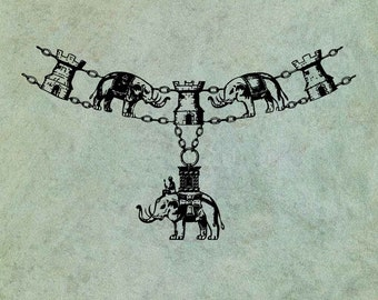 Elephant Necklace Curved Border - Antique Style Clear Stamp