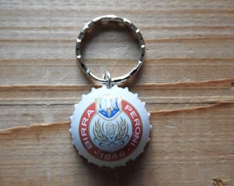 Peroni Italian beer bottle cap key chain - Handmade by Charlie