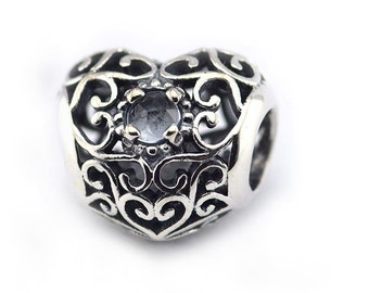 Pandora March Signature Heart Aqua Blue  Crystal Birthstone Charm 791784NAB
