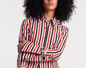 Striped Wide Cuff Blouse
