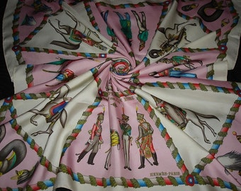 "Authentic HERMES ""Army Imperial Russian"" Pink Silk Hermes Scarf"