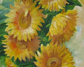 Sunflowers, original oil painting on canvas