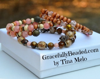 Hematite Pink and Brown Stacked and Beaded Trio Memory Wire Wrap Beaded Bracelet