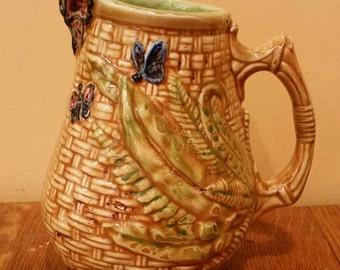 "Vintage Genuine Midge Ceramic Butterfly Basket Fern Small Pitcher 6"" Tall"
