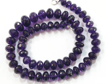 natural gem stone African amethyst faceted big beads complete necklace top quality 287 carats 17 inches 8 to 12 mm