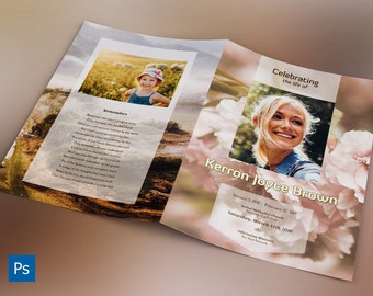 Adventure Large Funeral Program Photoshop Template