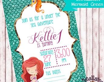 Invitation Mermaid green