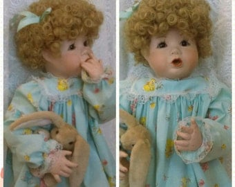 "Porcelain Doll 1989 Big porcelain bisque doll 20"" with curly redish wig  Bunny by Elaine Campbell Easter Decor"