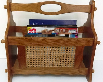 Wooden Magazine Rack with Handle  Magazine Rack File storage Mad Men Décor Cabin Country Home Craft Organizer File Storage