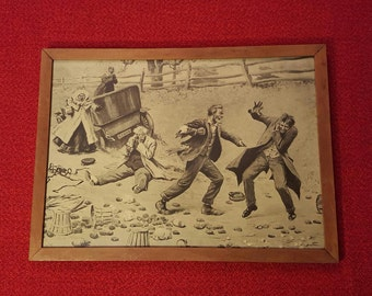 """A. G. Frost Painting Vintage/Antique Original Early 1900's """"The Big Brawl"""""""