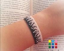 Miyuki Loom Beaded Bracelet, Elegant Miyuki Bracelet, Pink and Dark Green Beaded Bracelet, Gifts for her, miyuki jewelry