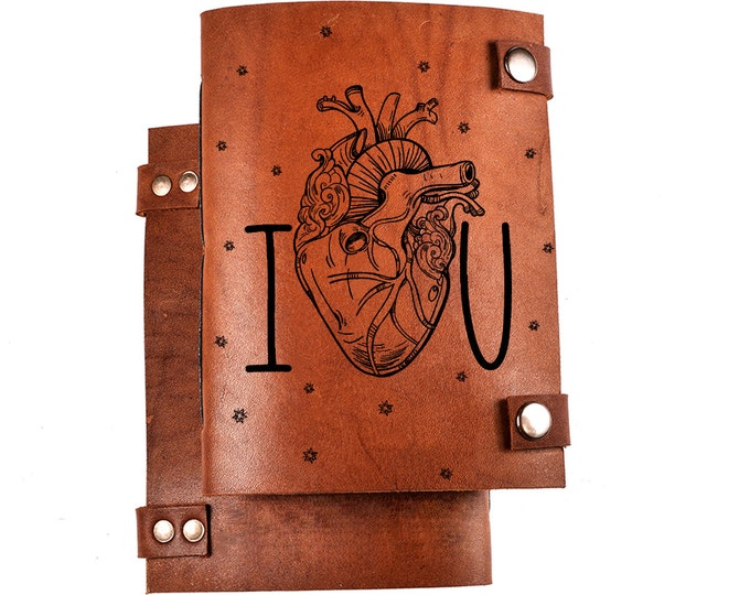 Leather romantic journal - love gift - anniversary gift - love notebook - valentines day gift - I LOVE YOU - leather journal