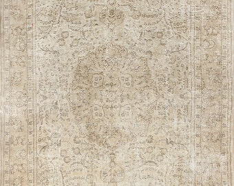 8.4x12 Ft Neutral Vintage Oushak Rug. Muted colors; Beige. Decorative old handmade carpet made of wool. a23