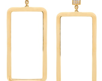 Square Gold Hanging Earrings