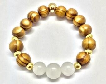Wooden Beads Bracelet, White Quartz Crystal Bracelet, Wood Jewelry, Gemstone and Wood Jewelry, Boho Bracelet, Boho