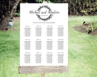 Wedding Seating Chart Template | Editable PDF, Printable Seating Plan Poster, Seating Board | Wreath| ED 5157