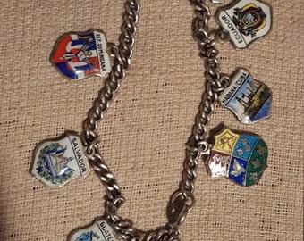 Sterling silver charm bracelet enameled